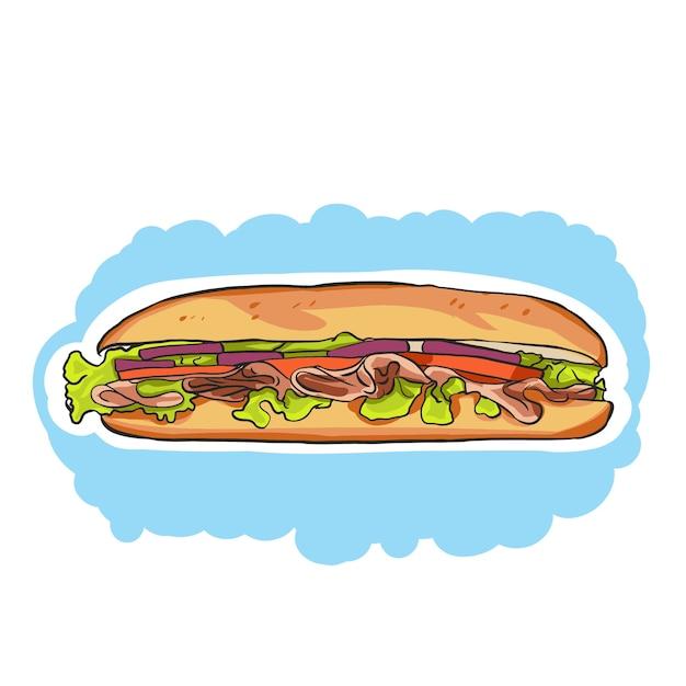 Красочный мультфильм sub sandwich с салатом, помидорами, мясом и сыром Premium векторы