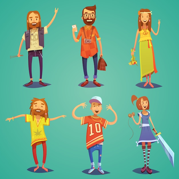 Subculture happy people figures collection Free Vector