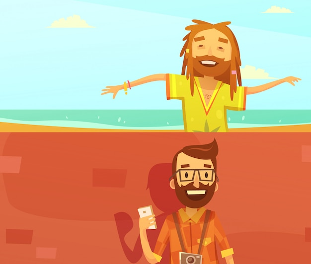 Subcultures horizontal cartoon background set with hipster and rastafarian isolated vector illustration Premium Vector