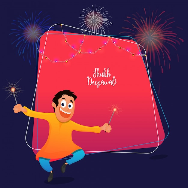 Subh diwali celebrations concept with happy kid holding firecrakes on pink and blue background. Premium Vector