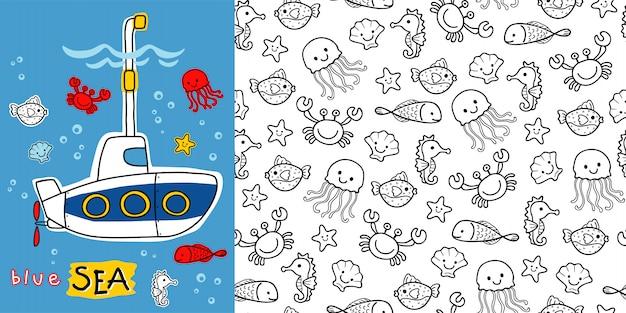 Submarine cartoon with marine animals on seamless pattern Premium Vector