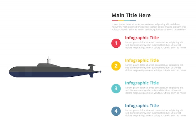 Submarine infographics template with four points Premium Vector