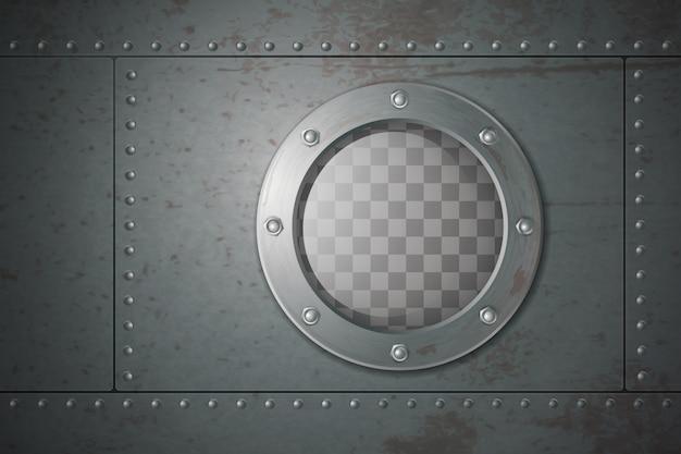 Submarine metal side porthole for underwater travel cartoon vector illustration Free Vector