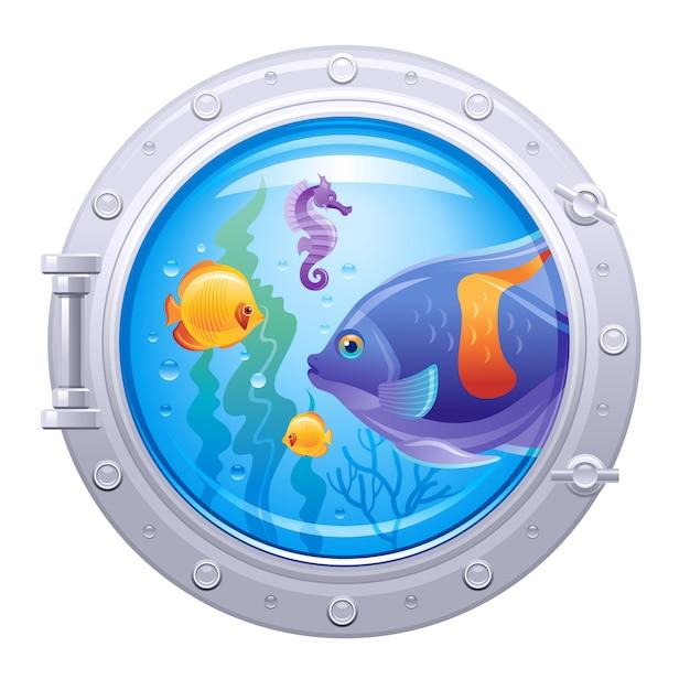 Подводный иллюминатор с красочными подводной жизни, морской конек и тропических рыб, изолированные. Premium векторы