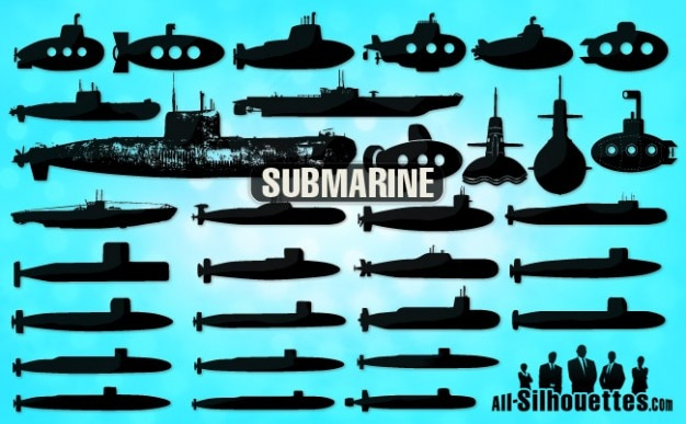 submarine silhouettes Free Vector