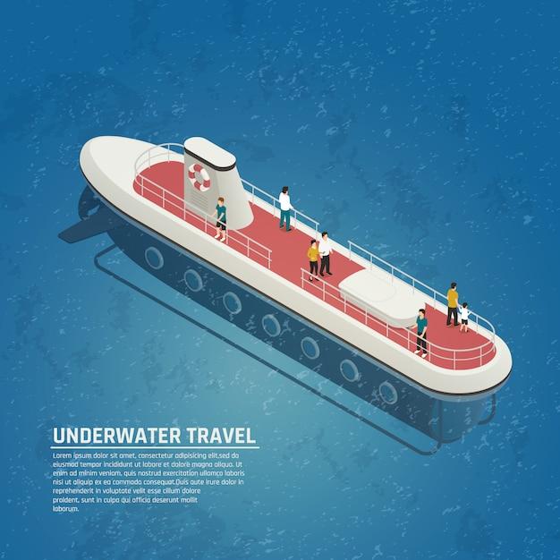 潜水艦水中旅行等尺性組成物 無料ベクター
