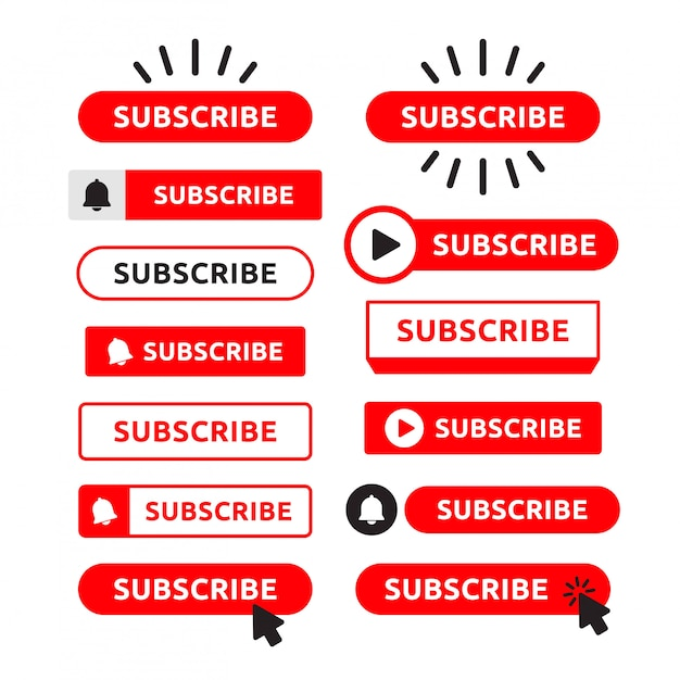 Subscribe, bell button set. red button subscribe to channel, blog. social media . marketing.  illustration Premium Vector