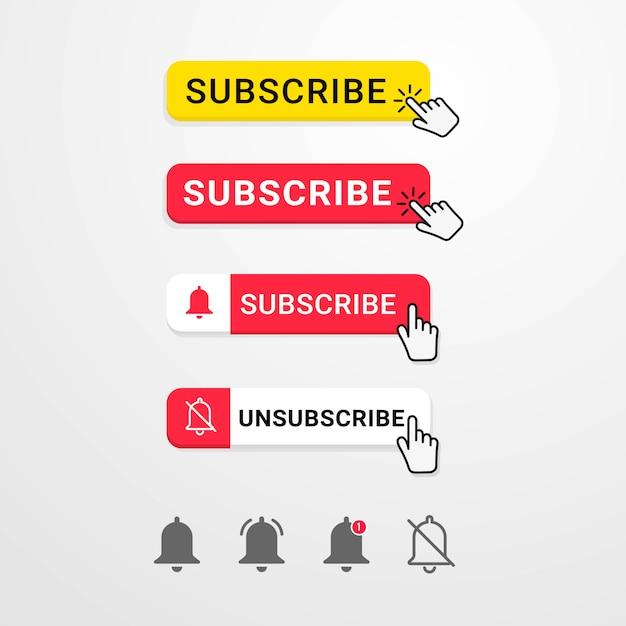 Кнопка подписки на социальные сети с курсором руки Premium векторы