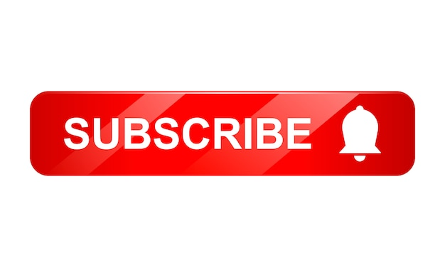 Subscribe button icon with bell on white background, 3d icon, realistic illustration Premium Vector