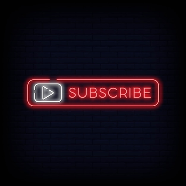 Subscribe button neon signboard for youtubers Premium Vector