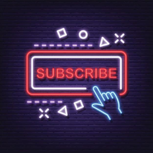 Subscribe neon signboard Premium Vector