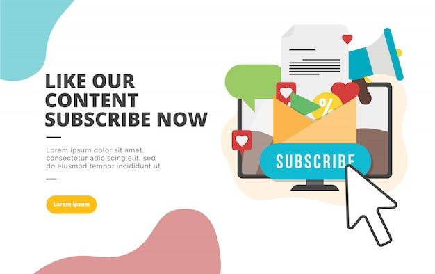 Subscribe now flat design banner illustration Premium Vector