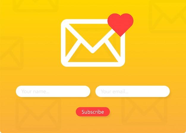 뉴스 레터 양식 구독 봉투 이메일 서명 양식을 작성하십시오 프리미엄 벡터