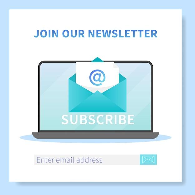 ニュースレターのwebバナーテンプレートを購読します。開いたブラウザページと新しい文字の封筒が付いたノートパソコン。メールマーケティング、通信サービス配信登録バナー。 Premiumベクター
