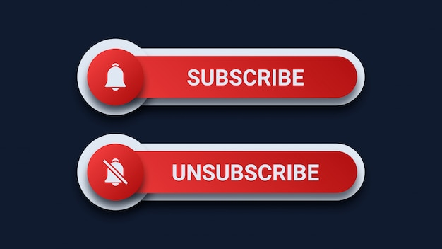 Subscribe and unsubscribe buttons Premium Vector