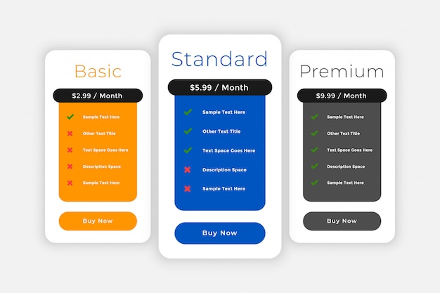 Subscription plans and pricing comparision web template Free Vector