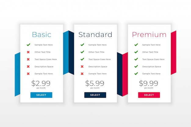 Subscription plans and pricing table web template Free Vector