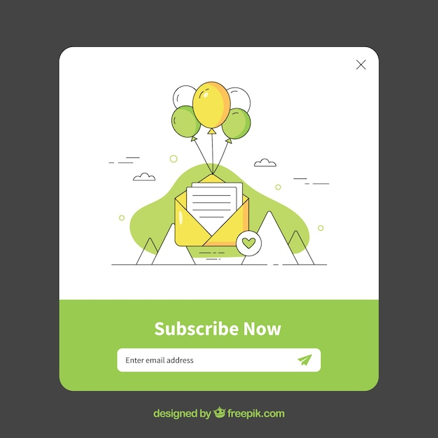 Subscription pop up set with flat design Free Vector