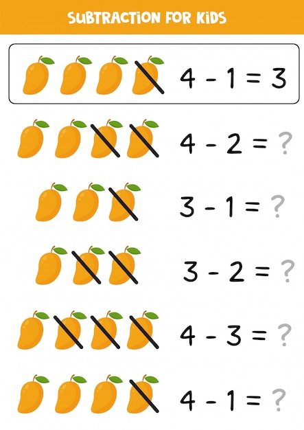 Premium Vector Subtraction With Cartoon Mango. Math Worksheet For Kids.  Learning To Subtract Objects. Elementary Algebra For Preschoolers.
