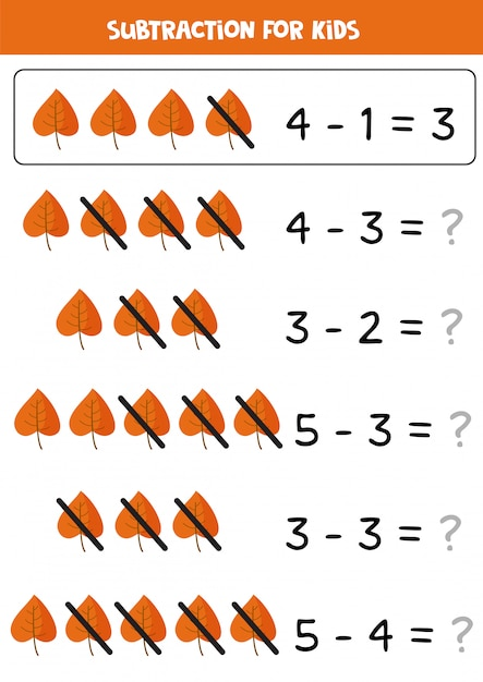 Subtraction with cute autumn leaves. math game for kids. Premium Vector