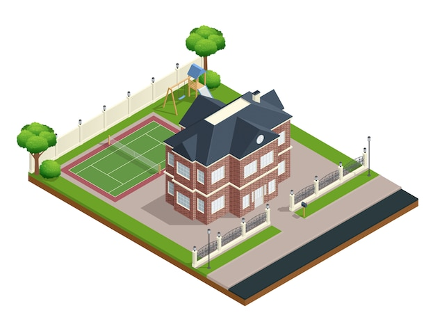 Suburb house isometric composition with sports ground and trees Free Vector
