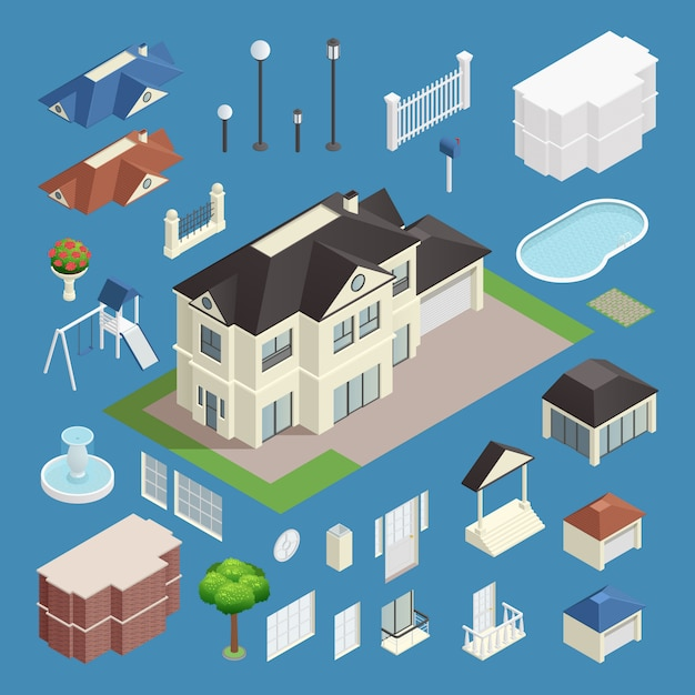 Suburb house isometric set on blue background Free Vector