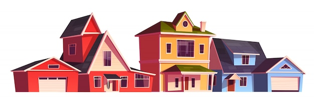 Suburb houses, residential cottages, real estate Free Vector
