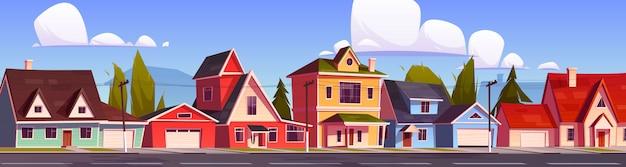 교외 주택, 코티지가있는 교외 거리. 무료 벡터