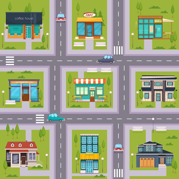 Suburb street cafe map seamless Free Vector