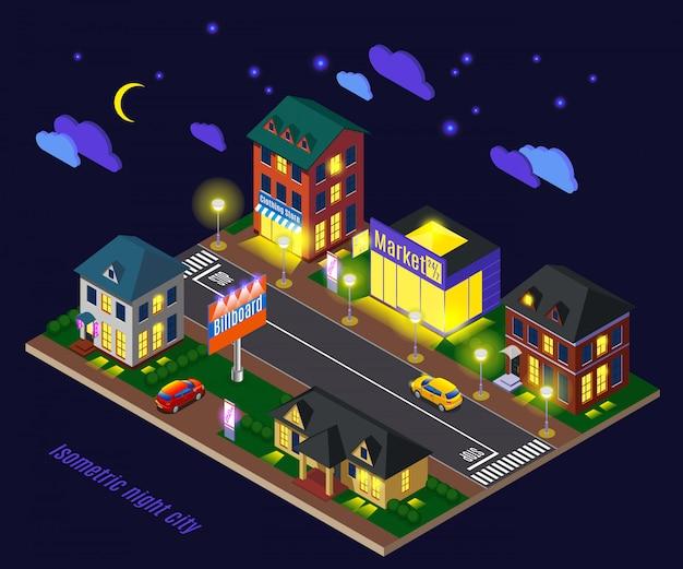 夜に明るい家のある郊外 無料ベクター