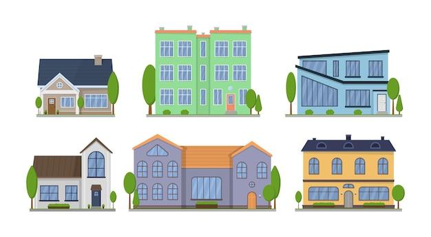郊外のアメリカ人は、屋根といくつかの木がある外観のフラットなデザインの正面図を収容しています。タウンハウスのアパート。 Premiumベクター