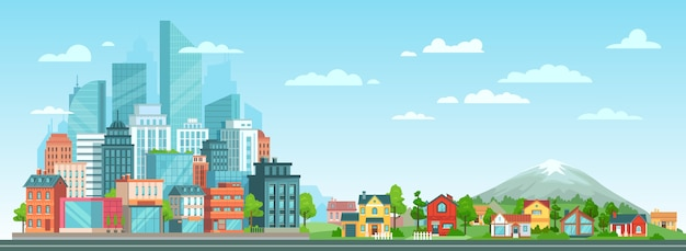 郊外と都市の街並み 無料ベクター