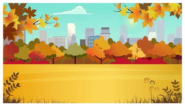 Suburban area with meadow, autumn trees and city buildings Free Vector