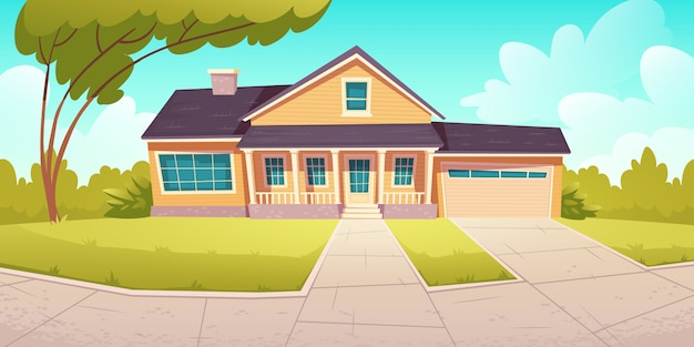 Suburban cottage, residential house with garage Free Vector