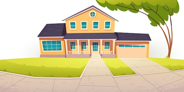 교외 별장, 차고가있는 주거용 주택 무료 벡터