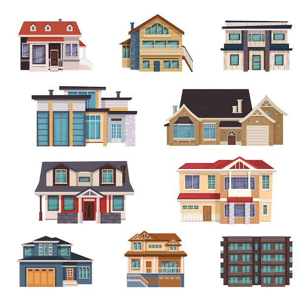 Suburban houses collection Free Vector