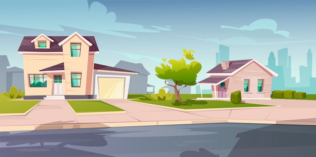 Suburban houses, cottage with garage Free Vector