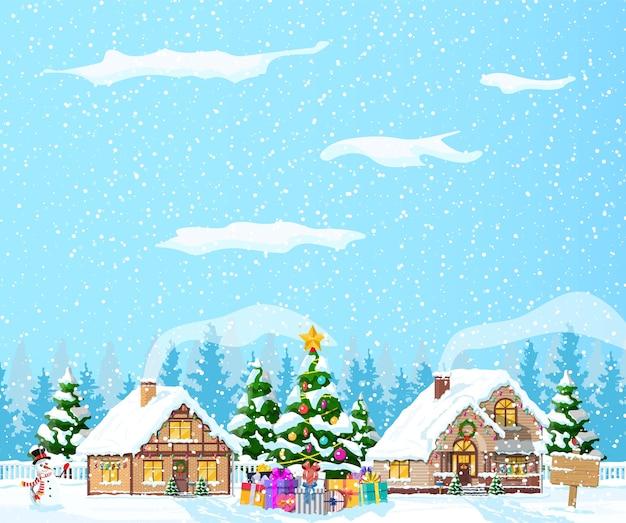 郊外の家は雪で覆われていました。休日の飾りの建物。クリスマス風景ツリースプルース、雪だるま。新年あけましておめでとうございます装飾。メリークリスマスの休日。新年のクリスマスのお祝い。 Premiumベクター