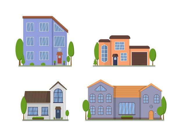 白で隔離される郊外の家の外観 Premiumベクター