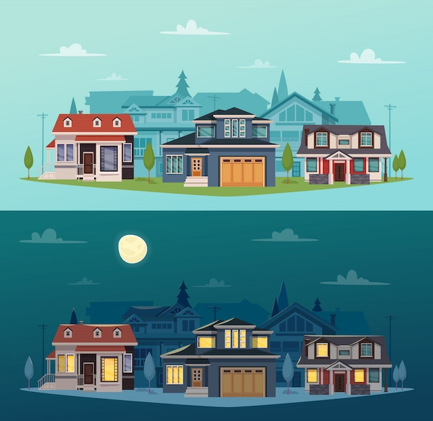 Suburban houses horizontal banners with colorful cottages Free Vector