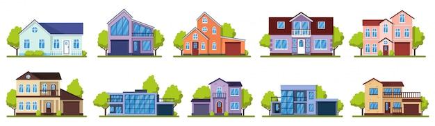교외 주택. 살아있는 부동산 집, 현대 별장. 집 외관, 거리 건축 그림 아이콘을 설정합니다. 집 건물, 주택 부동산 교외, 건축 생활 그림 프리미엄 벡터