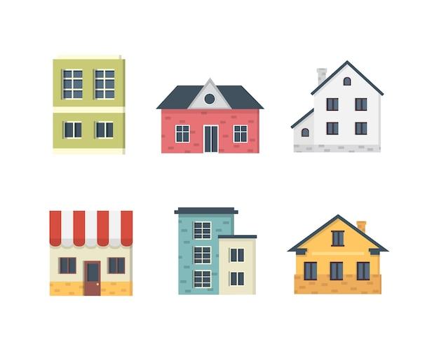 郊外の民家。家の外観。都市の建物のアイコンを設定します。 Premiumベクター