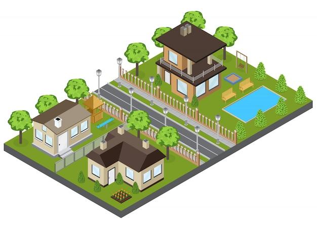 タウンハウスと等尺性のコテージと郊外エリアの建物 無料ベクター