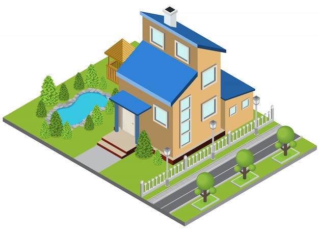 Suburbia building concept with town house swimming pool isometric Free Vector