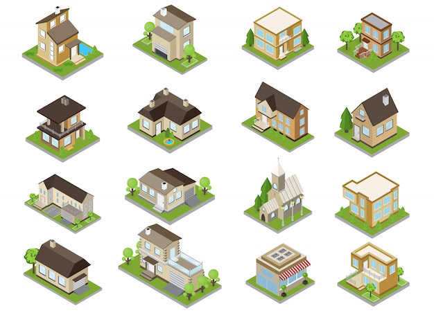 Suburbia buildings icons set with townhouses and church isometric isolated Free Vector