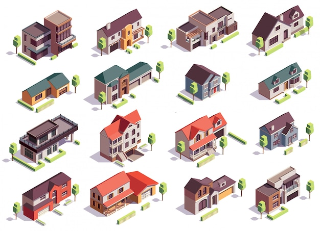 Suburbian buildings isometric composition with sixteen isolated images of modern residential houses with garages and trees Free Vector