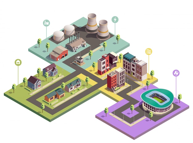 Suburbian buildings isometric composition with view of city blocks of different domain with flat pictogram icons Free Vector