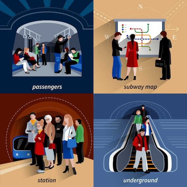 Subway 4 flat icons square composition Free Vector