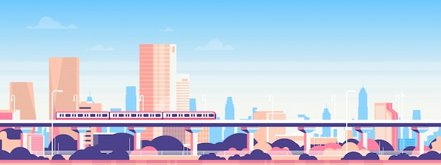 Subway over city skyscraper view cityscape background skyline flat banner Premium Vector