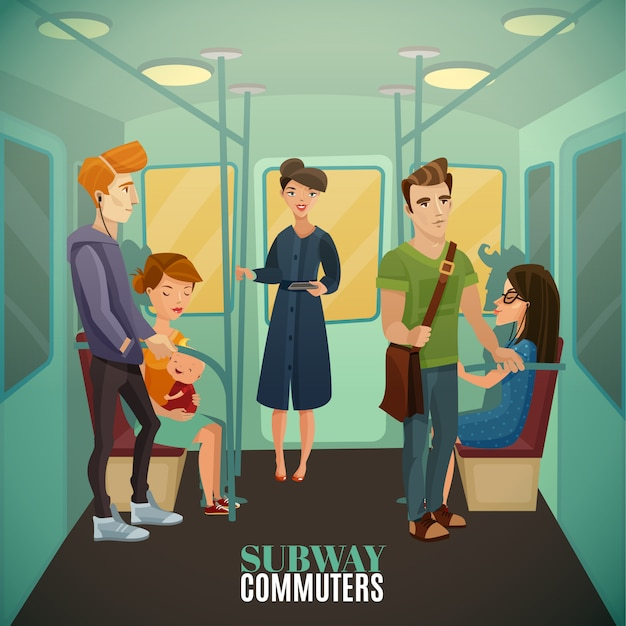 Subway commuters background Free Vector